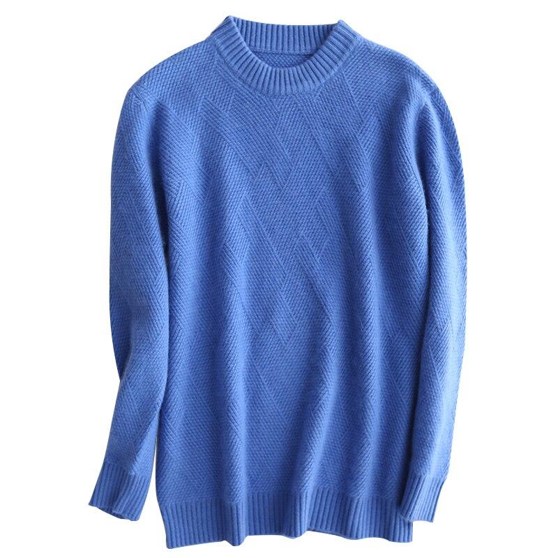 Mode cachemire pull chaud doux laine hommes pull automne hiver nouveau sauvage O cou pull solide haute qualité chemise laine