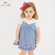 DBM10423 dave bella summer baby girls princess bow dress children party wedding kids infant lolital clothes