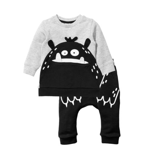 Newborn Baby Boy Girl Outfit Clothes Sets Top Long Sleeve Cotton T-Shirts Jumpsuit Pants Casual Cute Animals Clothing Boys 0-3T