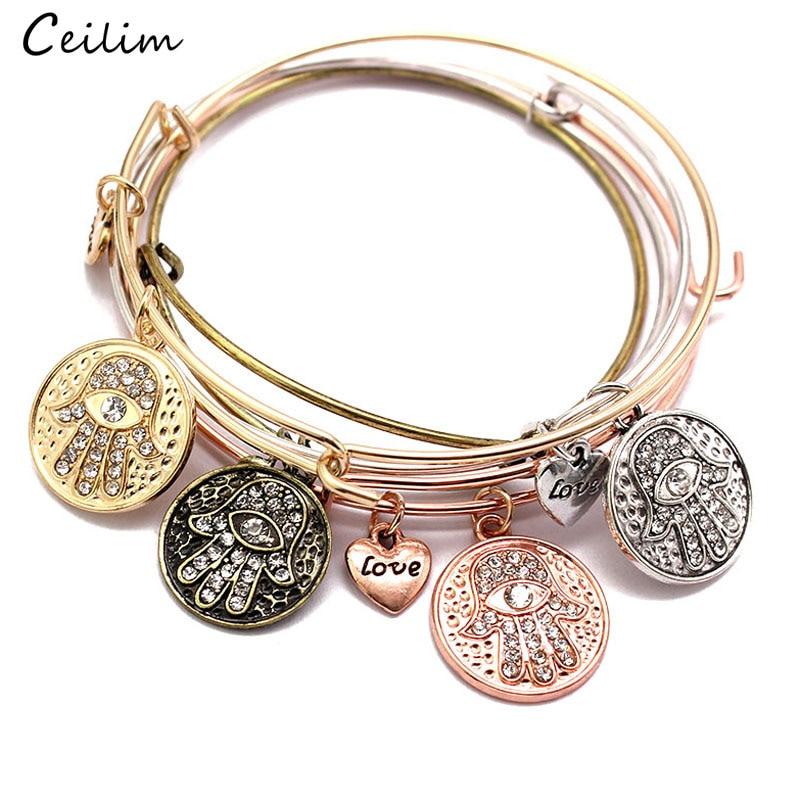 Vintage Fatima Hamsa Hand Expandable Wire Bangles Crystal Bracelet for Women Love Heart Charm Adjustable Jewelry Pulseras Gift