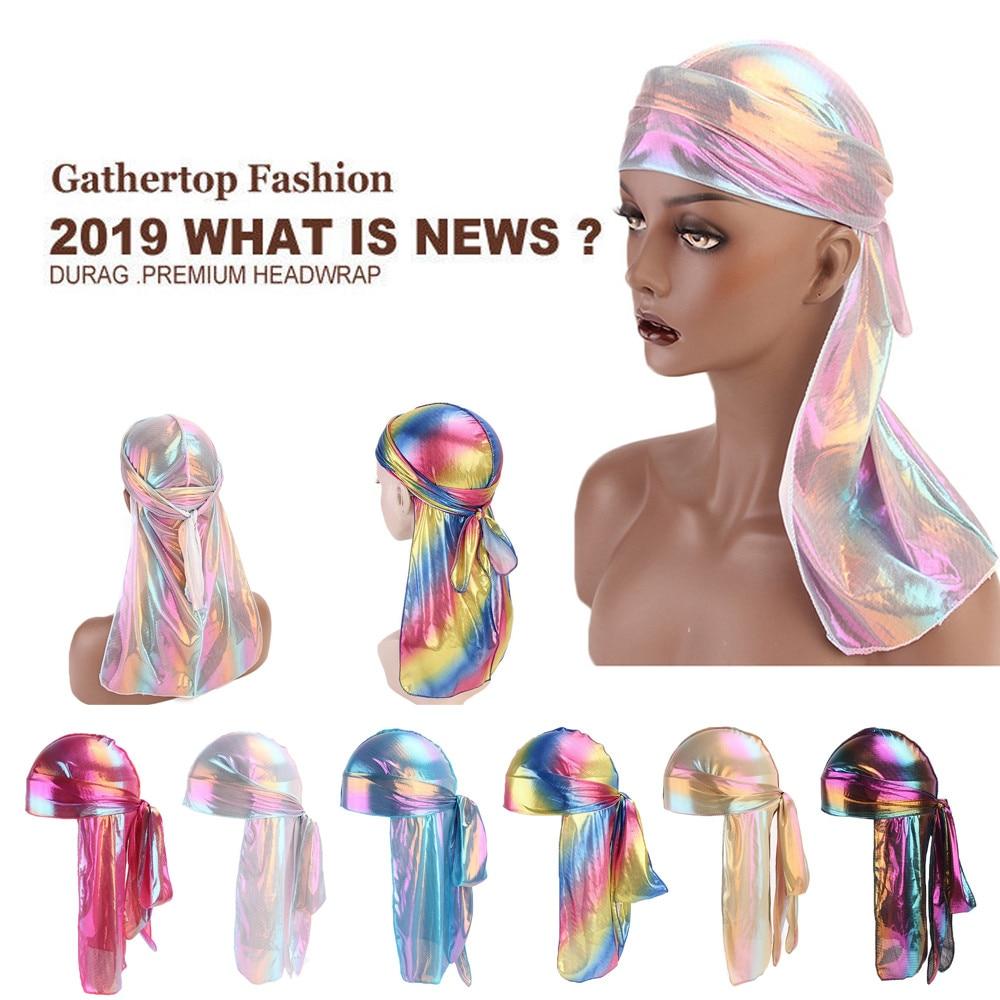 Men/Women Silk Polyester Breathable Bandana Hat Durag doo du Rag Pirate Skull  Turban Long Tail Headwrap chemo Headwear Gift #VD headpiece