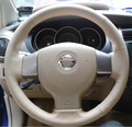 Hand-stitched Beige leather car steering wheel cover for Old Nissan Tiida Livina Sylphy Note