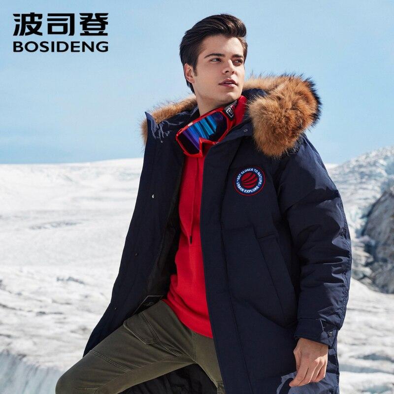 BOSIDENG 2018 duro invierno espesar de ganso chaqueta para los hombres abrigo de piel natural impermeable a prueba de viento con capucha outwear B80142149