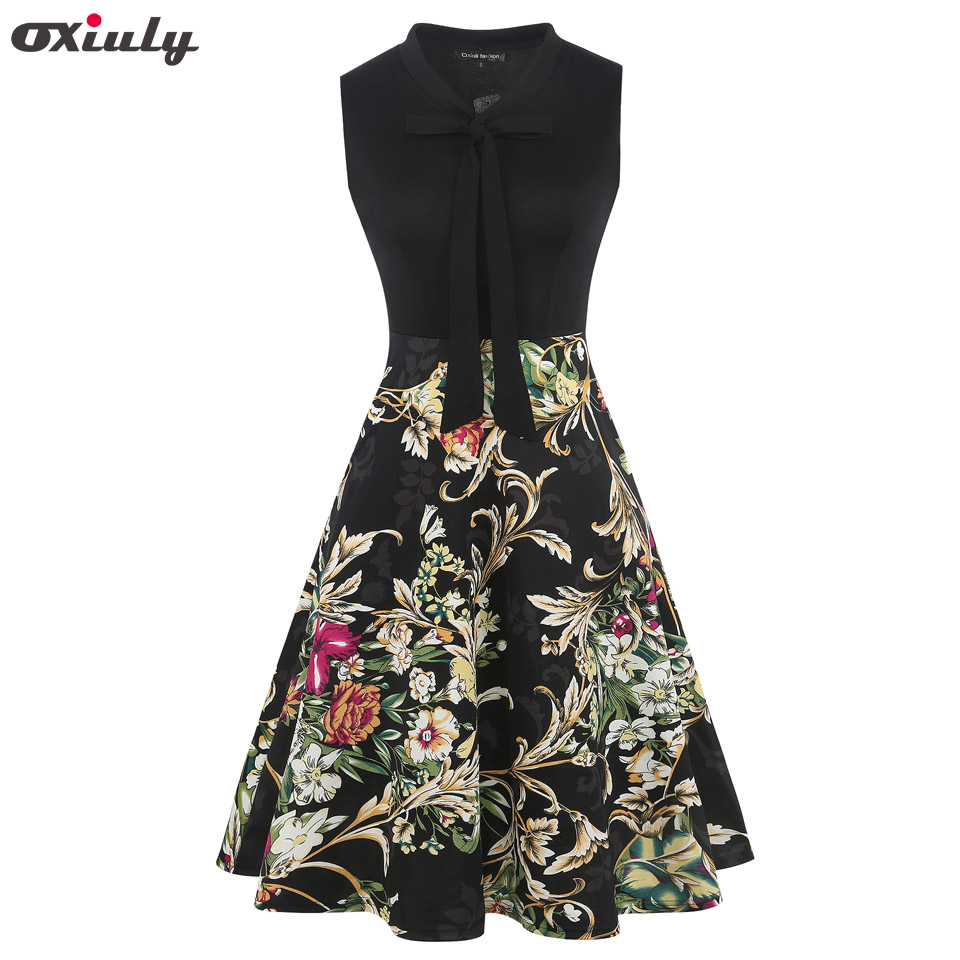 Women Black Patchwork Polkat Dot Multicolor Floral Dresses Elegant Sleeveless A Line Dress Ladies Tie Neck Dress