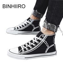 BINHIIRO Men Canvas Shoes Solid Lace up Fashion Men Vulcanized Shoes High-top Comfortable Flat Casual Men Sneakers Spring 2019 недорого