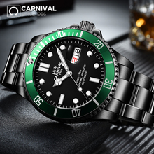 CARNIVAL Submariner Collection Men Watche Swiss Topbrand Luxury Black Steel Strap Waterproof Luminous Automatic Mechanical Watch