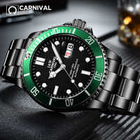 CARNIVAL 316L Stainless Collection Men Watche Topbrand Luxury Black Steel Strap Waterproof Luminous Automatic Mechanical Watch