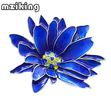 mziking New Blue Flower Brooch for Women Chrysanthemum Brooch Enamel Pin Jewelry Clothes Accessories Brooches For Wedding Brosh mziking new black cat brooch for women flower brooch cute cat head enamel pin jewelry clothes accessories brooches for wedding