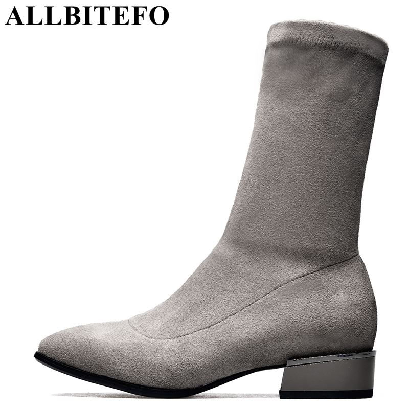 ALLBITEFO size:34-42 Nubuck leather+Stretch cloth thick heel women boots high-heeled ankle boots women girls shoes bota de neve