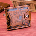 Hot Sale Fashion Men wallet short design Brand men's wallets mini PU Leather dollar price purse credit card holders 2 colors