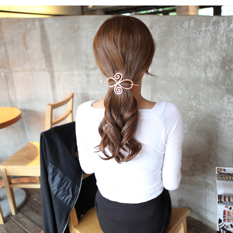 New Silver Plated Hollow Chinese Knot Barrette Hair Pin Stick Slide Clip