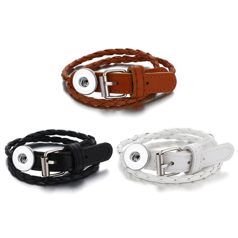 Fashion Multi-layer leather bracelets 3colors snap bracelet fit 18MM snap buttons wholesale SE0203