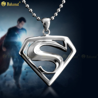 Quality Superman Necklaces Hero logo 925 Silver Pendants Necklaces Gift For Men And Women Movie Jewelry Dropshipping