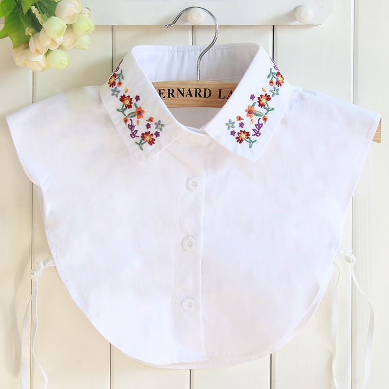 Floral Embroidery Vintage Shirt Female Detachable Fake Collar Sweet Kawaii Faux Col Shirt Dames Winter Thicken Keep Warm Croptop