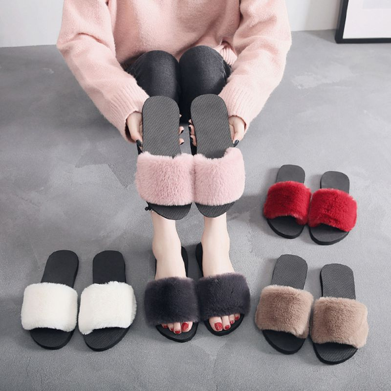 36-40 Women Slippers Fashion Fluffy Faux Fur Plush Slippers Women Spring Autumn Slides Flip Flops Home Flat Shoes
