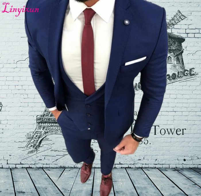 Linyixun пользовательские Темно-синие мужской костюм куртка для выпускного Slim Fit 3 предмета жениха Стиль костюмы на заказ блейзер (пиджак + штаны + жилет)