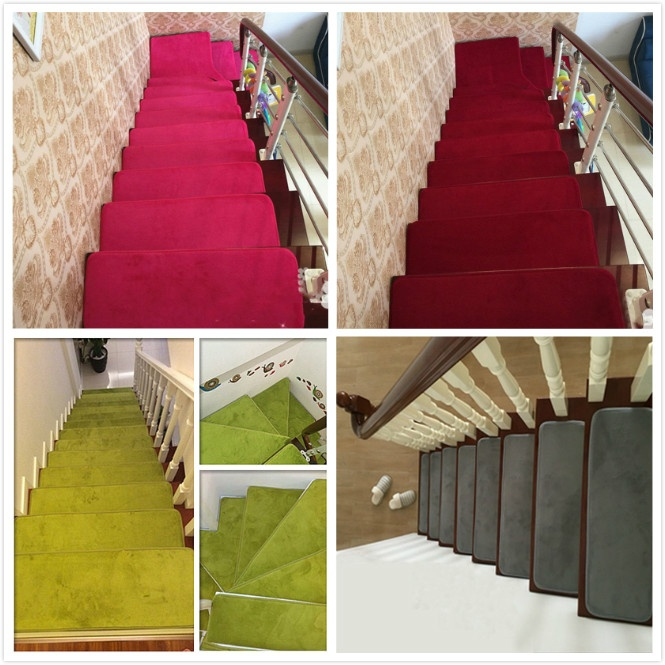 13pcs Stone Stair Treads Rectangle Non-slip Rugs Stair Mats Country Style Staircase Pads Stepping Carpet 9Style