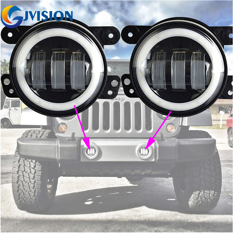 4 INCH 30W LED fog light for Jeeps Wrangler JK LED Fog Lamps Bulb Auto Len Projector Headlight Driving Offroad Lamp on sale 2pcs auto accessories 6500k 4inch 30w led fog lamp light fits for jeep wrangler jk 2007 2015