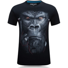 New Summer 2016 Fashion  Printing Glasses Earphone gorilla Unisex Breathable Casual 3d T Shirt For Men Shirt Increase code 6XL