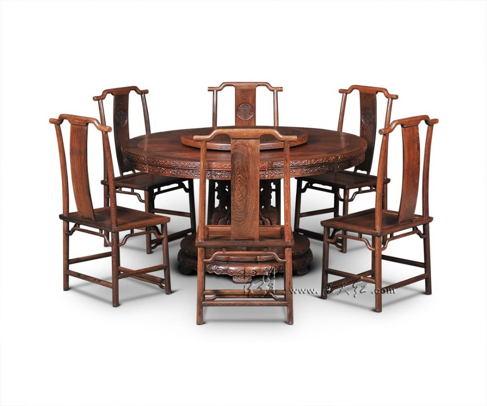 Single-leg Round Tables Furniture sets with Turntable Rosewood 8 chairs Diving Room 1.5M Coffee Desk Antique Solid Wood Armchair