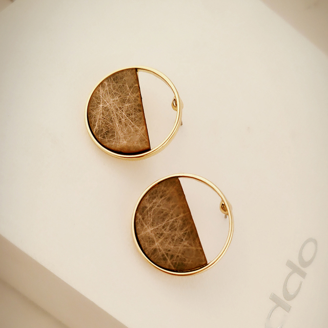 Gold Plated Wooden Stud Earrings For Women
