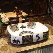 Lavabo Rectangular para baño, encimera de cerámica, Lavabo, Lavabo pintado a mano, Lavabo de baño, Lavabo vintage
