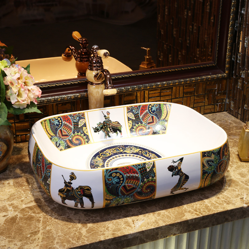 Rectangular Bathroom Lavabo Ceramic Counter Top Wash Basin Cloakroom Hand Painted Vessel Sink Bathroom Sinks Vintage
