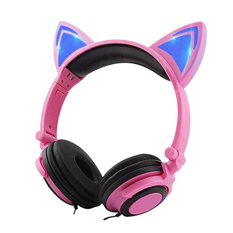 LIMSON Folding Headset LED Light Flashing Wired Pink Earphone Cute Cat Ear Headphones for Kids