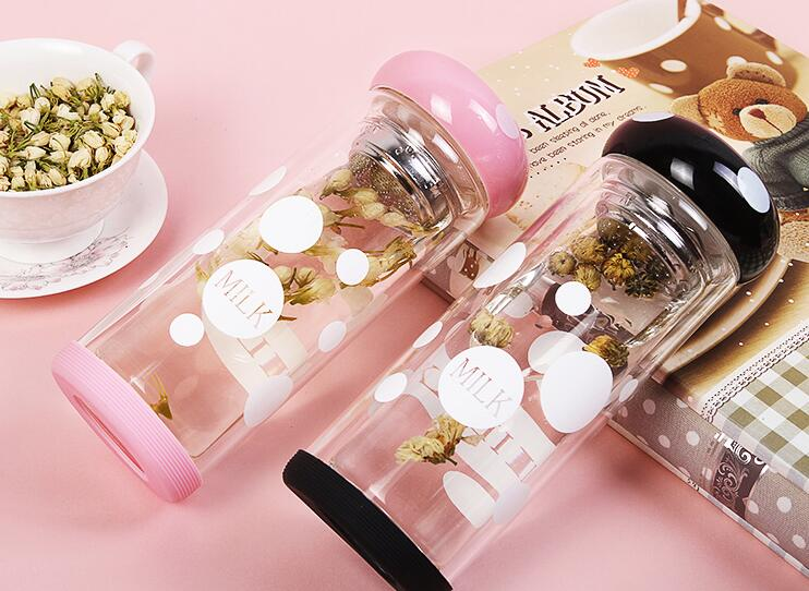 2016 hot selling creative double-insulated water bottle with filter lid lovely lady home drinkware free shipping lxq 840