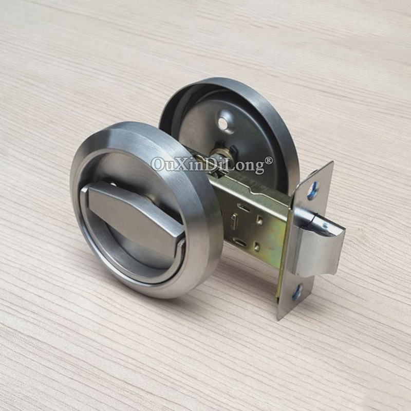 NEW 10PCS Stainless Steel Recessed Invisible Cup Handle Privacy Hidden Door Locks Cabinet Pulls Handle Fire Proof Disk Ring Lock in Locks from Home Improvement