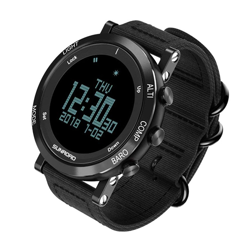 Sunroad Men S Smart Digital Barometer Altimeter Compass Waterproof Watch With Led Screen Large Face Altimeter