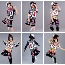 street dance clothing hip hop costumes kids printing tops dancewear