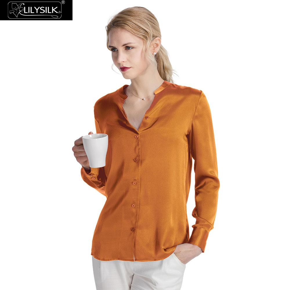 LilySilk Blouse Silk 22 momme Stand Collar Power Women New Free Shipping