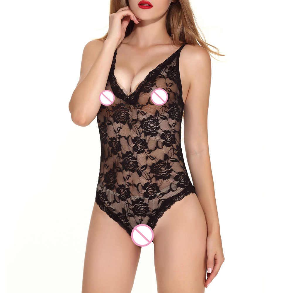 57d6c185822 2019 Women Ladie Sexy Flower Lace Mesh Bodysuit Erotic Lingerie Underwear  Nightwear Babydoll Nightdress Sleepwear nuisette