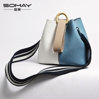 S0028 2017 Women Fashion Colorful Strap Bucket Bag High Quality Pu Leather Shoulder Bag Brand Desinger
