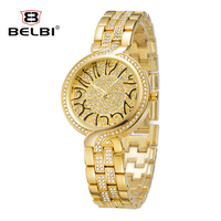 2016 Arrival Famous Brand Belbi Watch Ladies Women Luxury Gold Shinning Diomand Rhinestone Bangle Bracelet