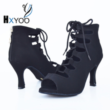 HXYOO Women Professional Latin Tango Flannel Dance Shoes Black Blue Cut Outs Ladies Salsa Ballroom Red