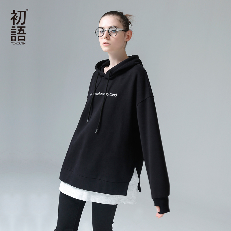 Toyouth Harajuku Hoody Sweatshirts Women 2018 Fashion Patchwork Letters Embroidery Hooded Tracksuits Female Pullovers Moletom