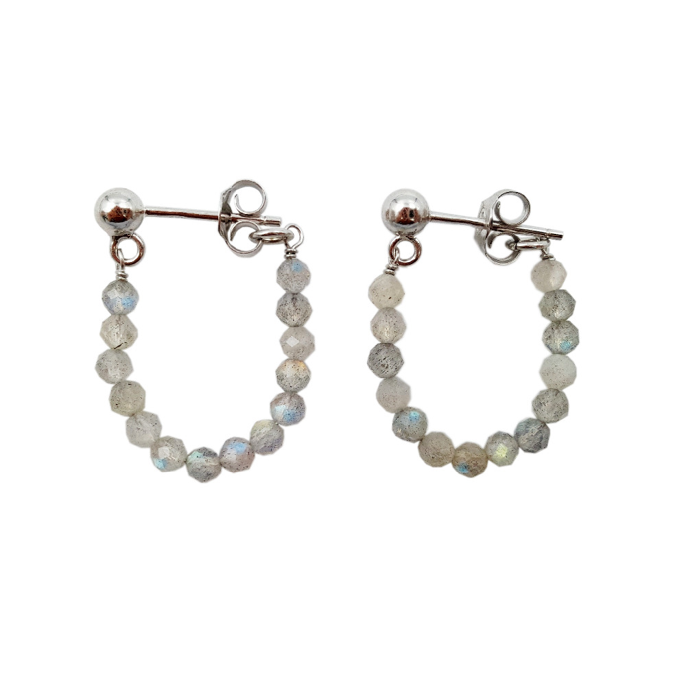 цена на LiiJi Unique Natural Stone Labradorite 3mm Faceted Beads 925 Sterling Silver Handwork Stud Earrings