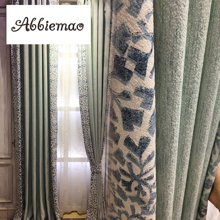 Abbiemao Modern Simple Cotton And Linen Printing Splicing Curtain Tulle For Living Room Balcony High Shading Window Treatments