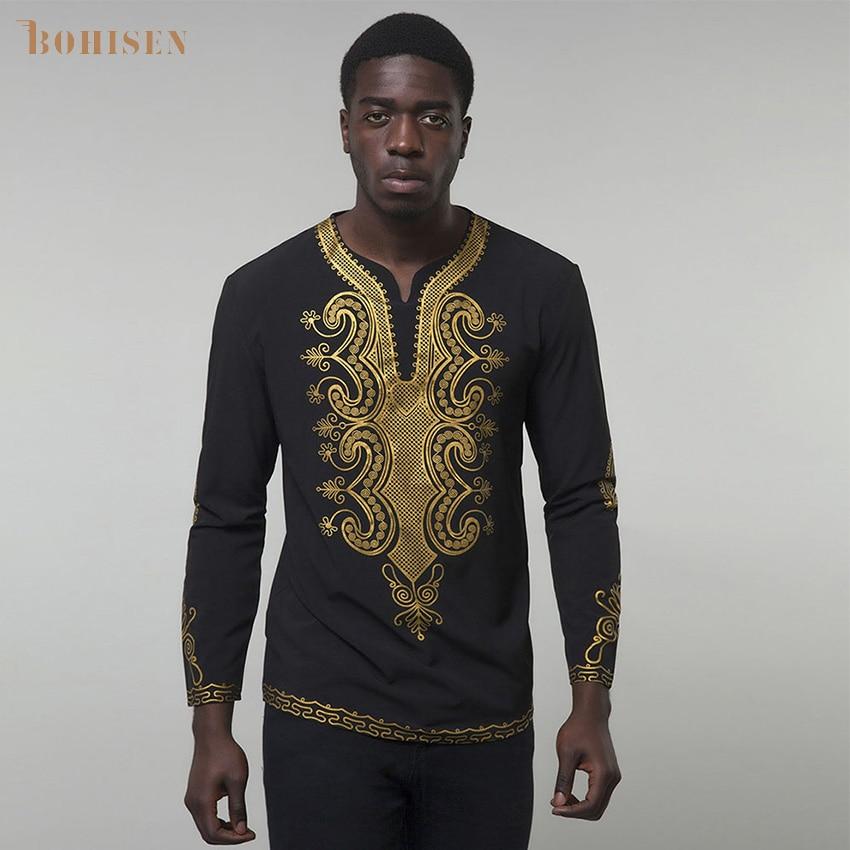 BOHISEN 2019 African Dresses For Man Shirt Long Sleeve Print Bazin Traditional Africa Clothes Fashions Maxi Men Dress
