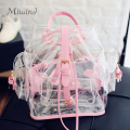 2016 Harajuku Cute Pink Waterproof Transparent Leather Women Small Drawstring Backpack Mini Rucksack School Bag Travel Mochila
