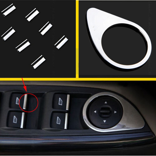 Free shipping!8pcs CHROME WINDOW SWITCH TRIM COVER FOR FORD FOCUS MK3 2012 2013 2015 for focus 3 accessories