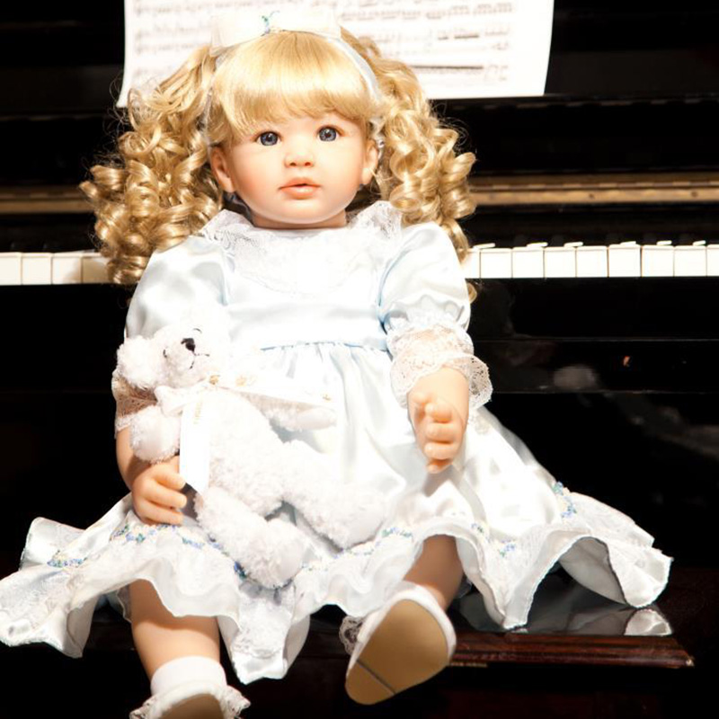 22 Soft Sweet Baby Dolls Girl Gift Toys Princess Baby Doll So Lifelike And Realistic Blonde Curly Hair Princess Dress