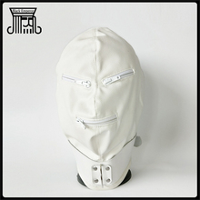 White Leather Cosplay Head Bondage With Zipper Open Eye Mouth Restraints Bdsm Bondage Sex Toys For Couples Bdsm Sex Adult Games все цены