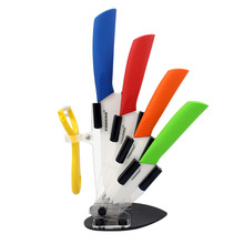 Home Kitchen Dining Bar Ceramic Knife and Accessories Set Paring Fruit Utility Chef 3″ 4″ 5″ 6″ inch with Peeler Acrylic Holder