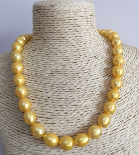 18 HUGE NATURAL AAA 11-13MM SOUTH SEA GOLDEN PEARL NECKLACE 925silver GOLD CLASP18 HUGE NATURAL AAA 11-13MM SOUTH SEA GOLDEN PEARL NECKLACE 925silver GOLD CLASP