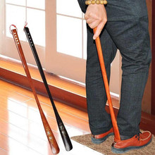 New Arrival 55 cm Ultra Long Mahogany Craft Wenge Wooden Shoe Horn Professional Wooden Long Handle Shoe Horn Lifter Shoehorn(China)
