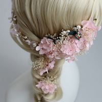 Elegant Pink Ivory Dried Flower Bridal Headband Hair Pins Set Handmade Wedding Accessories Tiara Women Jewelry
