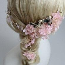 Dower  me Elegant Pink Ivory  dried flower Bridal Headband Hair Pins Set Handmade Wedding Accessories Tiara Women Jewelry